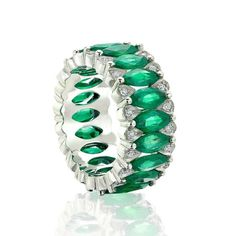Chic green glamour with Amore eternity band featuring exquisite marquise-cut emeralds framed by round brilliant diamonds - handmade jewellery Amore emerald eternity band in white gold White Gold Eternity Rings, Emerald Eternity Band, Eternity Bands, White Gold Rings, Diamond Rings, Emerald Diamond, Pink Sapphire, Jewelry For Her, Fine Jewelry