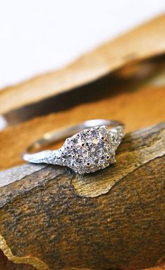 14k White Gold Contemporary Halo Engagement Ring....maybe one day lol... Beautiful ring none the less