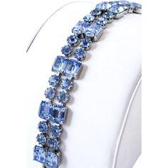 Blue Glass Multi Strand Bracelet, Signed Weiss, Vintage Jewelry NEW YEAR SALE