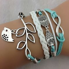 Multilayer Alloy Owl Leaves and Infinite Charms Handmade Leather Bracelets  – GBP £ 3.10