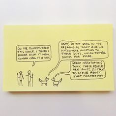 Insta-Chaz (Chaz Hutton) draws comics, flow charts, Venn diagrams, and graphs on sticky notes, mostly about modern life.