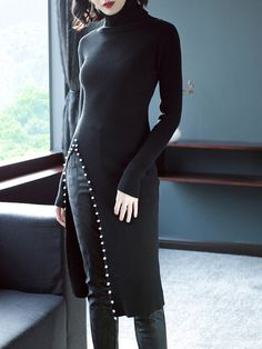 Shop Midi Dresses - Sheath Turtleneck Casual Slit Long Sleeve Sweater Dress online. Discover unique designers fashion at StyleWe.com.