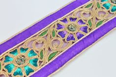 Wide Purple Silk Fabric Embroidered by ArtsyCraftsyShoppe on Etsy