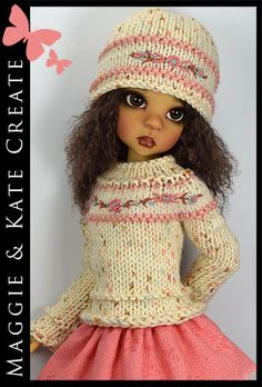 """OOAK Cream & Coral Outfit for Kaye Wiggs 18"""" MSD BJD by Maggie & Kate Create"""