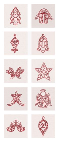 Red Decorative Christmas Time Embroidery Machine Design Details