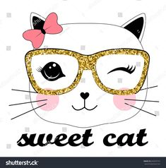 sweet cat illustration vector for girls print design Illustration Vector, Illustration Girl, Funny Cat Faces, Funny Cats, Sweet Cat, Face Template, Girl Sketch, Cat Dad, Baby Art