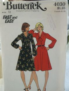 a912761c4d Vintage 70 s Fast and Easy Butterick Fitted   Flared Tie Neckline Dress 4030  Sewing Pattern 4030 Size 12 Bust 34