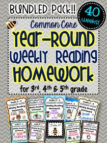 forkin4th: Common Core Weekly Reading Homework (Grades 3-5) COMPLETE BUNDLED SET!!