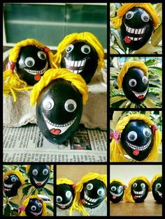 Black Monster Eggs #eggshelldecor #eggshellcraft