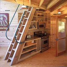 Beautiful take on some wooden stairs! And perfect for a tiny home. Love the alternating rungs.