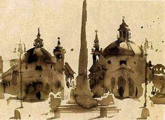 Wendy Artin, Piazza del Popolo, 1999. Watercolour on Amalfi paper, 10 x 7 in.
