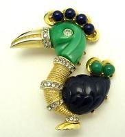 Vintage HATTIE CARNEGIE Primitives on Parade Dodo Bird Lucite Rhinestones Brooch