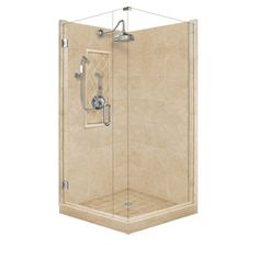 American Bath Factory�Panel Medium Fiberglass and Plastic Square Corner Shower Kit (Actual: 86-in x 36-in x 36-in)