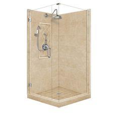 American Bath Factory�Panel Medium Fiberglass and Plastic Square Corner Shower Kit (Actual: 86-in x 36-in x 36-in)