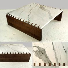 Marble Wood Coffee Table From KGB Limited - I'm oddly inspired by his piece... dovetailing with Marble, nuts!