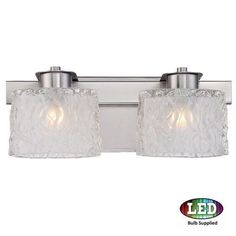 Platinum PCSW8602LED Seaview 2 Light 15 Wide Bathroom Vanity Light with Glass Bell Shades (Nickel Finish), Grey (Steel)