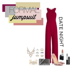 """""""Date Night: Jumpsuit Style"""" by isotia ❤ liked on Polyvore featuring Halston Heritage, Christian Louboutin, Chanel, Topshop, Chicnova Fashion, Stella & Dot, NARS Cosmetics and MAC Cosmetics"""