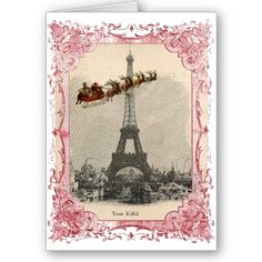 Vintage Santa over Paris