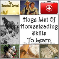 Huge List of Homesteading Skills to Learn Frugal Homesteading – The Homestead Survival .Com Huge List of Homesteading Ski Homestead Survival, Homestead Farm, Camping Survival, Survival Prepping, Emergency Preparedness, Survival Skills, Survival Gear, Survival Hacks, Survival Quotes