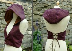 Hooded vest, Backless Pixie Elfling Waistcoat, Corset detail Lace Fabric Not knit, but would like to do something like this! Hooded Vest, Fantasy Costumes, Character Outfits, Larp, Costume Design, Lace Fabric, Diy Clothes, Cool Outfits, Dress Up