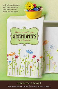 Put your own spin on tea towels like Grandma used to make with these fresh color combinations and modern designs.