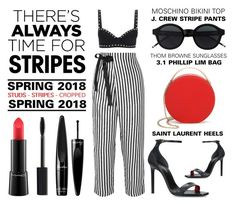 """""""There's Always Time For Stripes"""" by latoyacl ❤ liked on Polyvore featuring Moschino, J.Crew, Yves Saint Laurent, 3.1 Phillip Lim, Guerlain and MAC Cosmetics"""