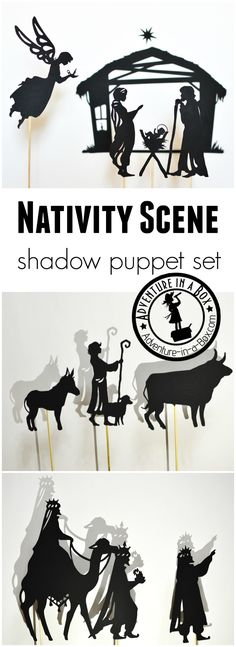 Nativity Scene Shadow Puppets Set: Begin a new tradition this Christmas. Stage a shadow puppet play with kids! Printable puppets included.