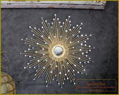 Gold Starburst Mirror, Sunburst Mirror 27in Sparkle & Shine #1007 Handmade mirror,  mid century modern mirror, silver mirror