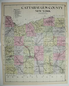 Antique Cattaraugus County NY Map Large Map New York County Vintage Map 1912 Allegany Salamanca Olean Genealogy Historical Gift for Office by OldMapsandPrints on Etsy