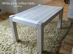 White pine wood coffee table. Custom work. Made by Derva.