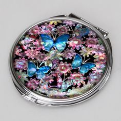 Mother of Pearl Blue Butterfly Design Double Compact Makeup Cosmetic Personal Handbag Purse Mirror 32 Ounce ** To view further for this item, visit the image link. (This is an affiliate link) #SkinCareTools