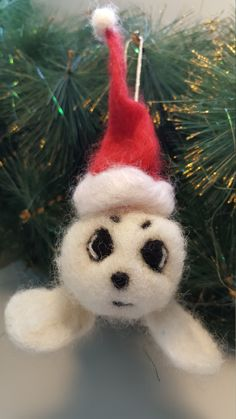 Needle felted Christmas Ornament, Christmas Decoration, Wool Felt Ornament, Cute seal, Holiday Gift by ZaborkaArt on Etsy