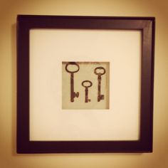 "One of my favorite pieces of wall-art. Although it is from Pottery Barn, it's an easy ""do it yourselfer"". It only requires two materials: a shadow-box & whatever you'd like to be displayed inside of it. #shadowbox #keys #potterybarn"