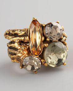 Multicolor Crystal Branch Ring by Oscar de la Renta at Bergdorf Goodman.