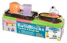 BathBlocks Just Think Toys Bathtime Consruction Building Toy  Tug Boat  Barge ** Click the VISIT button for detailed description on Amazon website