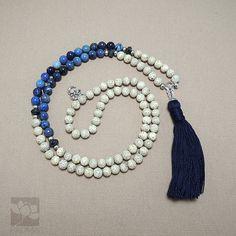 Mala Beads 108 white lotus Bodhi Seeds Sodalite  clear quartz by PadmaZenArt