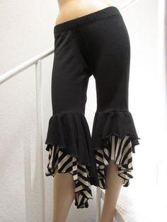 These would look so cute under my skirts! *Black Ruffled Capri Flamenco Bloomer Tribal by KathleenCrowley,