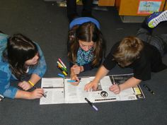#textmapping invites discussion and collaboration.  It's a great way to engage kids in the learning process.  Photo from Mrs. Bullen's Blog.