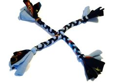 Braided Fleece Tug Dog Toy Small Four Way Blue by WhimsicalWoof, $8.99