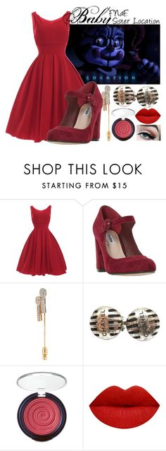 """""""FNaF: Sister Location- Baby"""" by frozenfanatic2019 ❤ liked on Polyvore featuring Dune, Chanel and Laura Geller"""