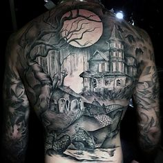 Mens Full Back Greyish Haunted House Tattoo On A Full Moon Night