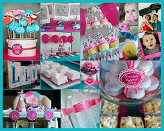 First birthday idea for Grace, photos! Love the blue and pink!!