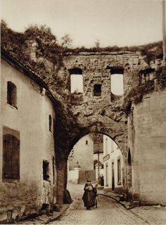 City gate, in Valkenburg, The Netherlands, 1930s