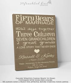 50th Wedding Anniversary Gallery Wrapped by TheFreckledOwlCanvas