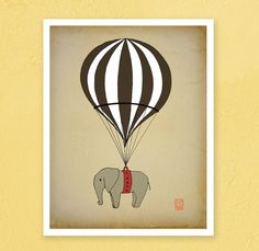 Elephant Hot air balloon Archival Art Print 12x16 by LeniSomnia, $36.00