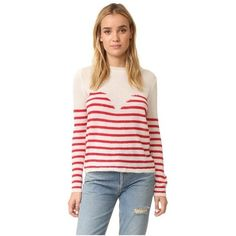 Mes Demoiselles Matisse Sweater ($220) ❤ liked on Polyvore featuring tops, sweaters, sweetheart top, loose long sleeve tops, striped sweaters, long sleeve tops and pink striped top