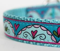 Hearts and Scrolls Dog Collar / Valentine's Day / Aqua Blue