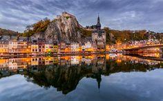 Lataa kuva Namur, Illalla, sunset, Maas-Joelle, Dinant, Belgia, Notre Dame de Dinant