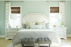 Bright and Airy Master Bedroom + BM Palladian Blue Walls || Shea McGee Design