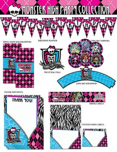 Monster High Printable Party Collection. I like the doll cupcake toppers.